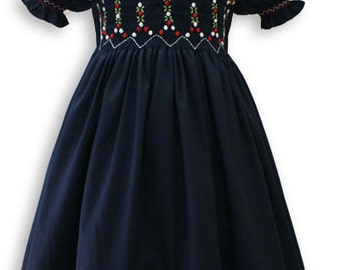New baby girls hand smocked and embroidered Christmas Holiday navy dress,  babys and toddlers avail.  16470,  Luxurious Pima cotton