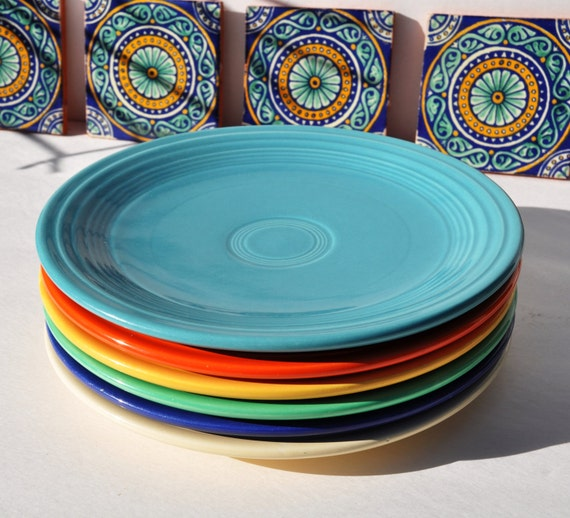 Fiestaware 6 Plates Six Original Colors 1936 1951 9 5