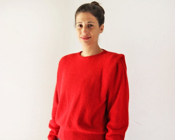 Benetton angora sweater / vintage red angora sweater / pleated sleeves