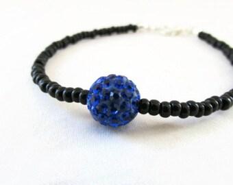 CLEARANCE Black and blue stacking bracelet, black seed bead bracelet, simple shamballa bracelet, gift for her, handmade in the UK