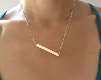 Nameplate Necklace - Personalized Gold Bar Necklace - Custom Engraved Necklace - Minimalist Gold Bar - Bridesmaids Necklaces - Gift for Her