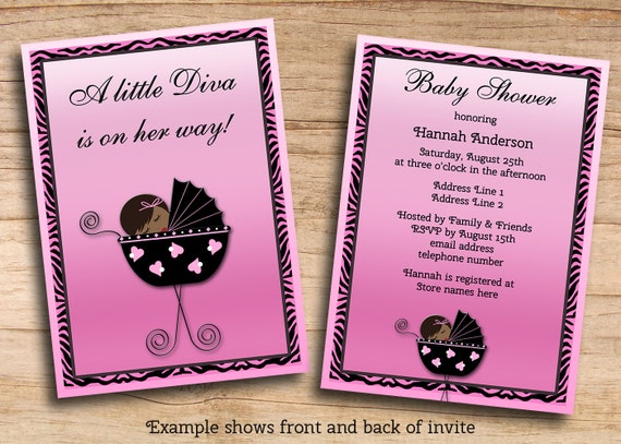 Wedding Divas Invitations Template: Items Similar To Printable JPEG Ethnic Diva Girl Baby