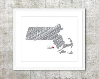 State of Massachusetts Art Print - Custom State Love Poster - Slate Grey Red Heart - Modern Wall Art