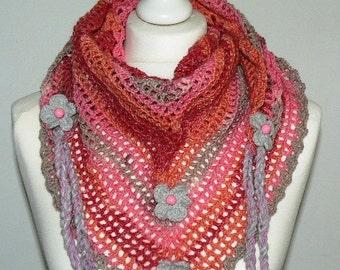 PINK Road Trip scarf, crochet, triangle scarf, fashion, Boho, Gypsy