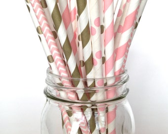 Pink Party Supplies Pink Polkadot Party Straws Pink and Gold Supplies Cake Pop Sticks Pink Polka Dot Baby Shower Ideas