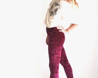 Crushed Velvet Leggings, High Waist