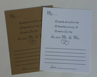 Advice Cards for the Mr & Mrs - Wish Cards - Wedding - Guest book - Wedding Guest Book