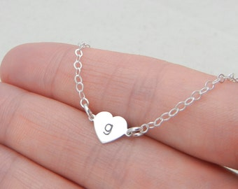 Petite Heart Sterling Silver Hand Stamped Necklace - Personalized with initial for a mom, grandmother, aunt, friend or your own inital