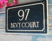 """15"""" x 9.5"""" Nouveau Home Address Engraved Plaque, Parisian Number Plaque, Housewarming Gift, Open House Gift, Realtor Closing Gift"""