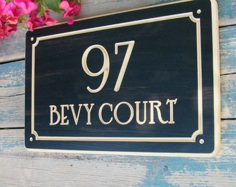 """15""""x9.5"""" Nouveau Home Address Engraved Plaque, Parisian Number Plaque, Housewarming Gift, Open House Gift, Realtor Gift, custom wood sign"""