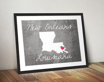 New Orleans Louisiana Concrete Print, Louisiana Print, Louisiana Gift, Concrete Style Print - State Print