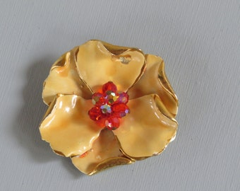 "FLOWER BROOCH /  ""Signed"" Brooch/ Dogwood Pin / Vintage Brooch / Enameled Brooch / Yellow Flower"