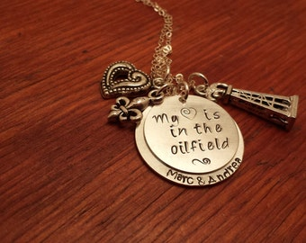 Hand Stamped-Oilfield necklace-My heart is in the oilfield-Together forever-never apart-Love at a distance-Roughneck wife-Oilfield wife