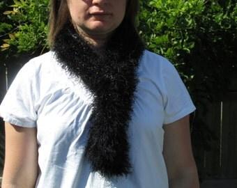warm skinny black knitted scarf--eyelash knitted scarf--skinny scarf--black boa--fancy black eyelash scarf