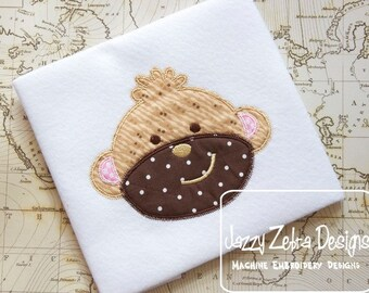 Monkey Appliqué embroidery Design with Diagonal Square Stitching - monkey appliqué design - zoo appliqué design - jungle appliqué design