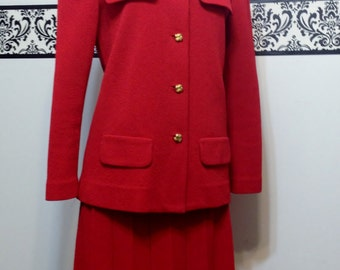 1970's Lipstick Red Mad Men Women's Suit by Castleberry London New York, Large, Vintage Jackie O Jacket and Skirt Set