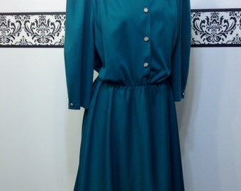 1980's Vibrant Green Vintage Day Dress by California Looks, Size 16P, Vintage 80's Spring Hipster Secretary Dress