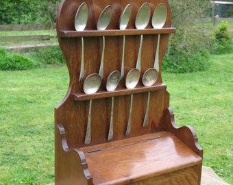 18th century Georgian style spoon rack made using reclaimed recycled Oak