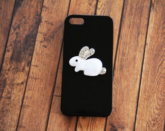 Black iPhone 5c Cover Case Cute iPhone 5c Cases Unique iPhone 5c Cases Rabbit Bunny Black iPhone Cases Crystal iPhone 5c Case Girly iPhone 6