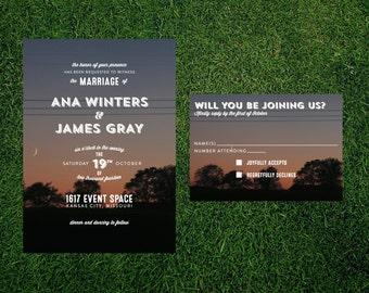 Sunset Forest Wedding Invitation // Printed Sets // Modern Wedding, Nature Wedding, Woodland Wedding, Custom Wedding Invitation