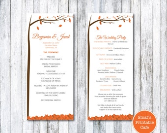Autumn Leaves Wedding Tea Length Program Template DIY Printable