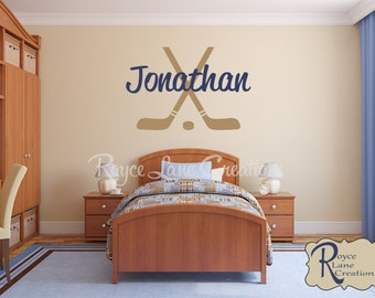 Hockey Sticks And Hockey Puck with Personalized Name B21 Hockey Wall Decal