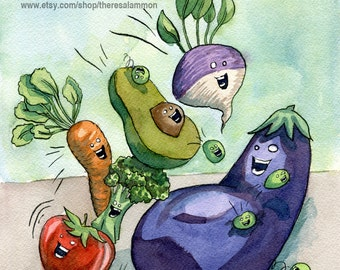 "Vegetable Art Original Watercolor Painting - Eggplant Avocado Carrot Tomato Turnip Broccoli Painting - ""Energetic Veggies"" - Kitchen Art"