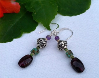 Garnet Earrings, dangle earings, earrings dangle,  small dangle earrings, girlfriend gift, wife gift, sister gift, gifts for her under 50