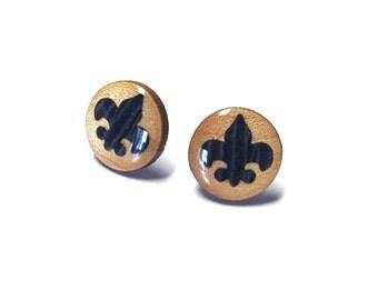 Fleur De Lis Earring Studs, Wood Earrings, Wood Studs, Fleur De Lis Studs, Wooden Fleur De Lis Studs,