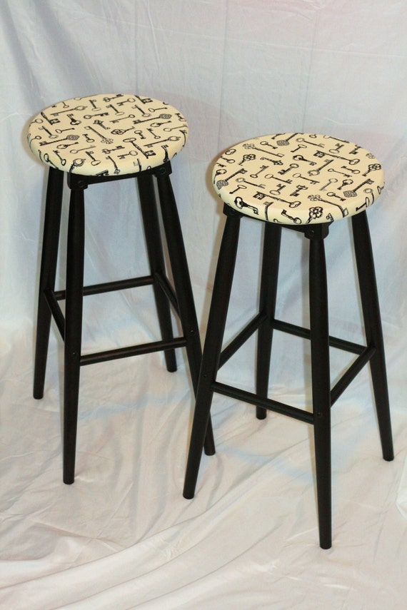 items similar to shabby chic 30 bar stools painted wooden black frames upholstered antique. Black Bedroom Furniture Sets. Home Design Ideas