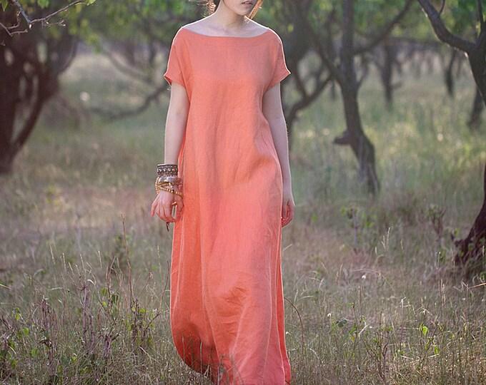 Women long dress - Short Sleeve Dress - Round neck/Boat Neck - Asymmetrical base - Linen dress - Made to order