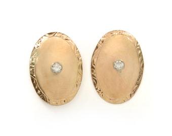 Vintage Earrings - Vintage 1940's 14k Rose Gold and Diamond Earrings