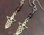 Sterling Silver Celtic Dagger and Swarovski Earrings