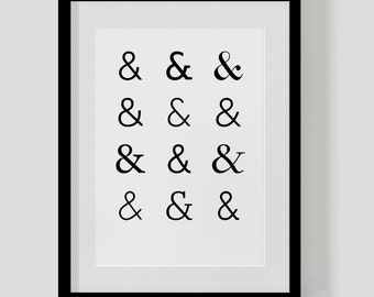 Ampersand (&) print poster — typographic / type pattern present — custom colours