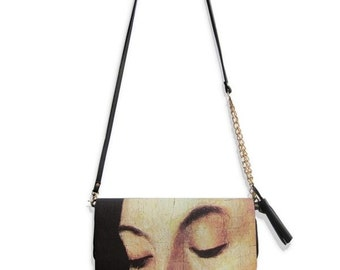 FineArt Collection Vintage style I close my eyes oil painting handbag clutch