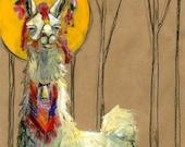 Sassy Llama Saint: 8.5x11 Print with Mat, Peruvian inspired llama painting