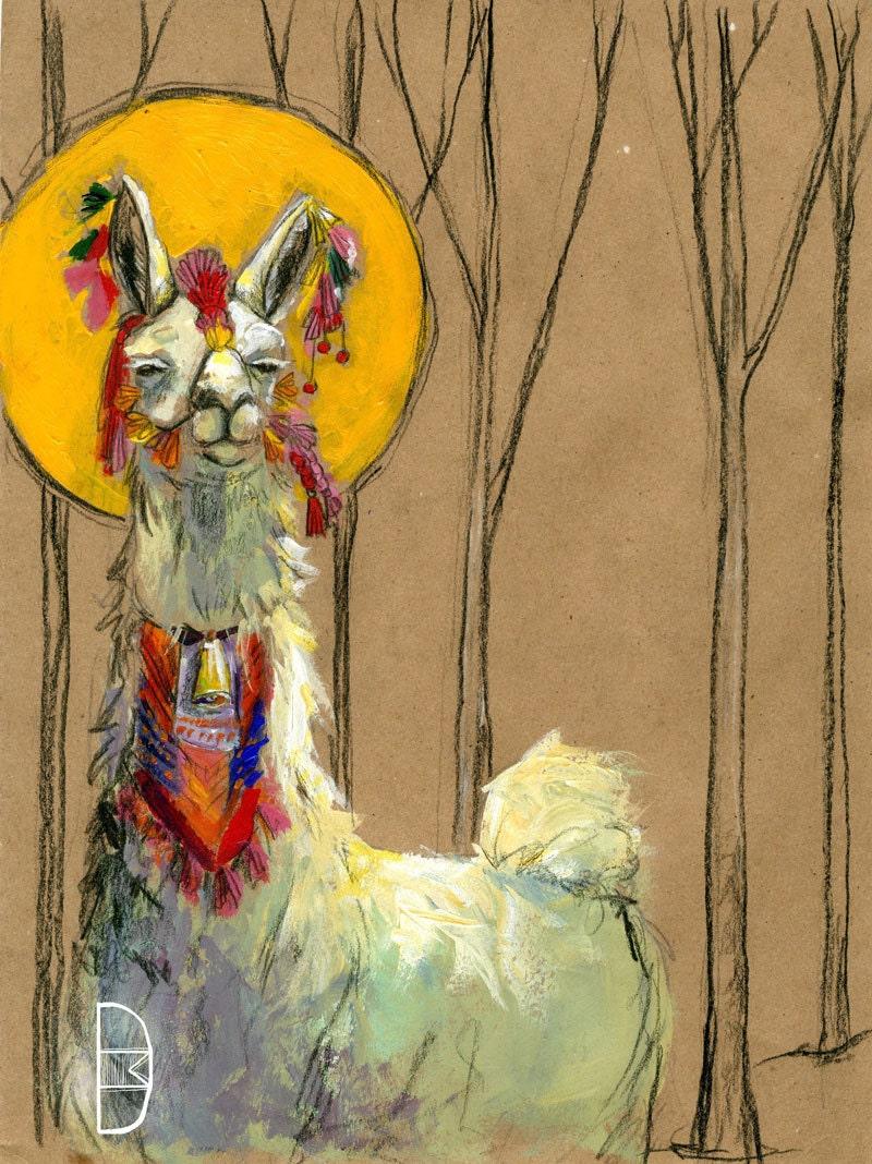 Sassy Llama Saint 8 5x11 Print With Mat Peruvian Inspired