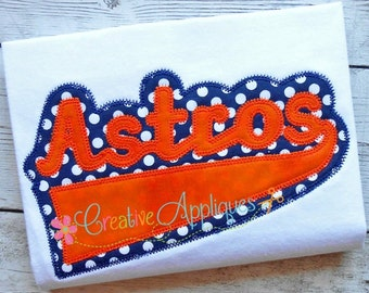 Astros Applique Digital Machine Embroidery  Design 6 sizes