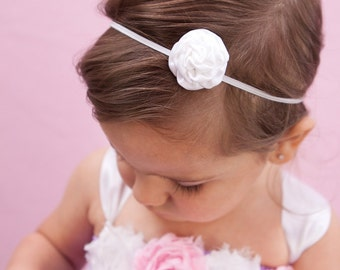 White Satin Rosette Headband, White Headband, White Mini Rosette Headband, Baby Headband, Toddler Headband, Skinny Headband
