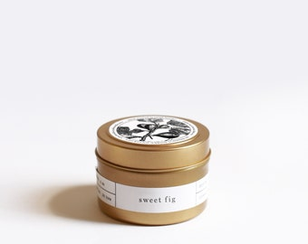 Sweet Fig Gold Travel Soy Candle