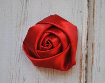"4pc Dark Red Satin Rosette - 2"" inch satin rose flowers - satin smooth rosette"