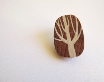 Wood Brooch - Tree – white