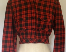 1960's Red & Black Plaid Wool Button Down Cropped Marston Company Jacket