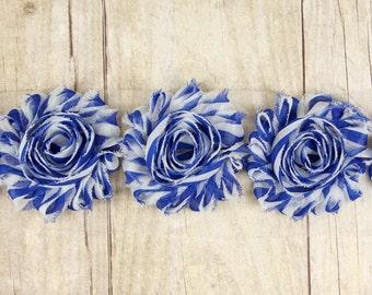 "Rosettes ""Blue with White stripe"" Shabby Chiffon Flower -  shabby flower trim, shabby chiffon rose trim, shabby rosette trim. DIY"