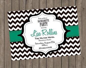 Printable Bachelorette Invitation - Lisa Turquoise