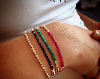 Gold gemstones (onyx\ruby\emerald) bracelet