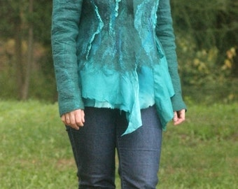 Nuno felted jacket, OOAK wool and silk felted Art to Wear dress.