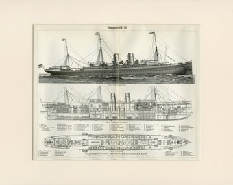 "Matted Antique Steamboat Print Antique Ship C. 1900 German Engraving  12x16"" Vintage Decor"