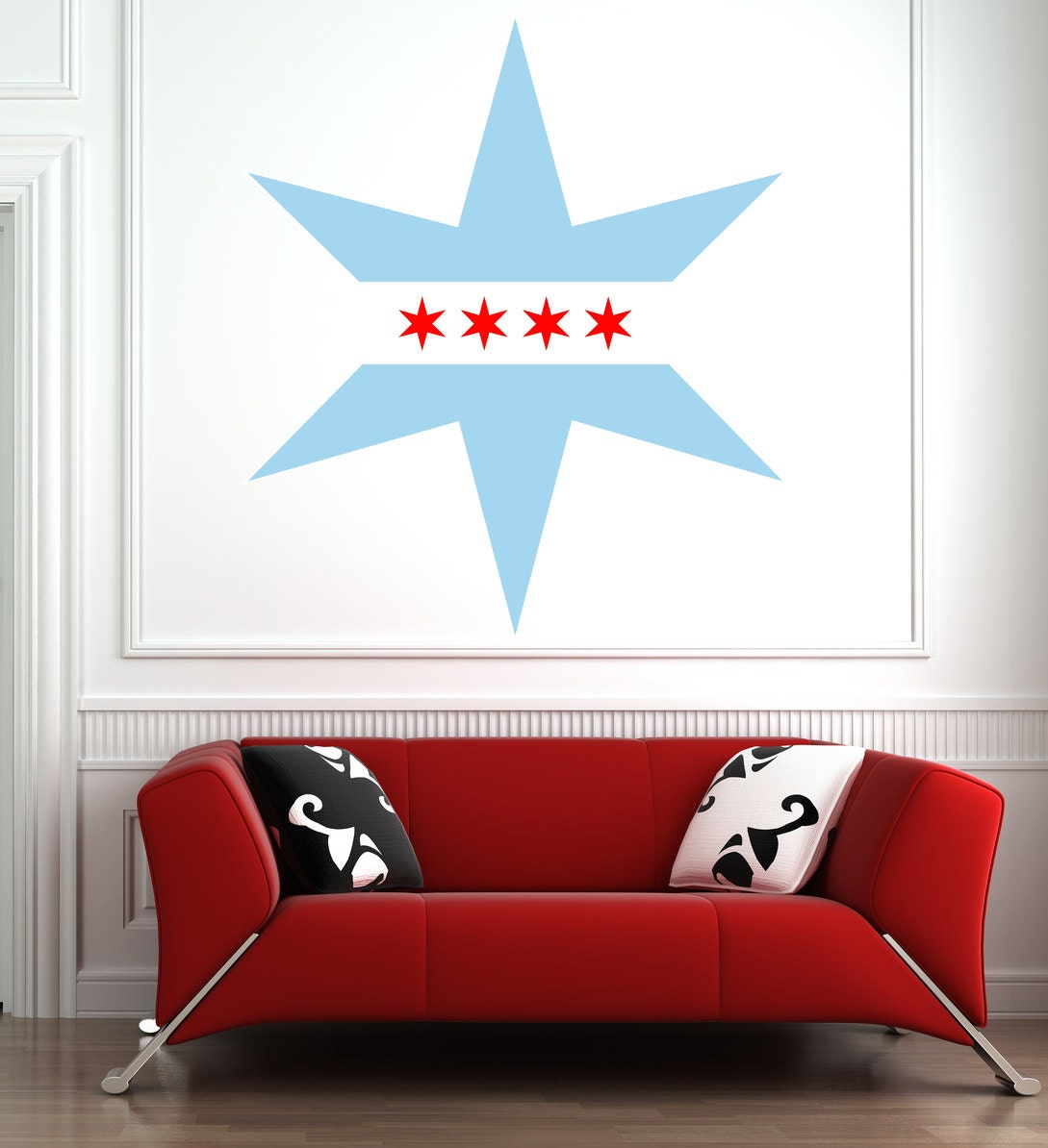 Chicago flag star wall decal by lavenderinkstudio on etsy for Star wall decals