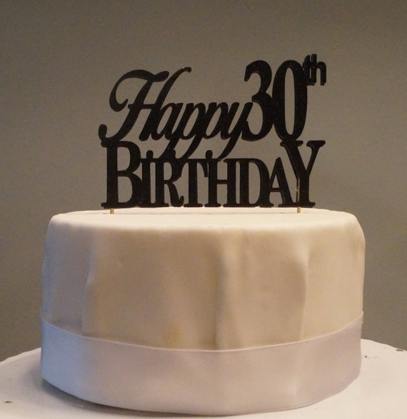 All About Details Black Happy-30th-birthday Cake Topper, 1pc